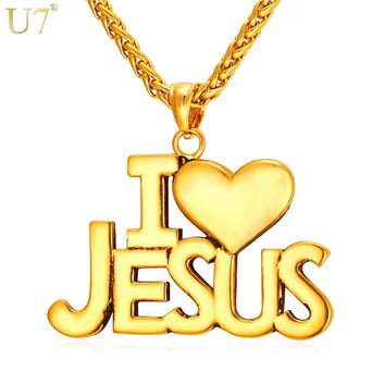 "U7 Jesus Heart Necklace For Men/Women Gift Gold Color Stainless Steel Christian Jewelry ""i Love Jesus"" Pendant & Chain P870"