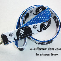 Lanyard  ID Badge Holder - Lobster clasp and key ring - design your own - black elephants -  royal blue pin dots - two toned double sided
