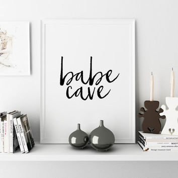 Nursery Wall Art,Girls Room Decor,Girls Bedroom Decor,Gift For Her,Typography Print,Quote Prints,NURSERY GIRLS,Babe Cave,PRINTABLE Art