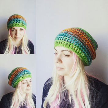 Rainbow Crochet Beanie Hat Crochet Colorful Hat Slouchy Hat Beanie for Women Boho Hat Hat Mesh Dreadlock Hat Chunky KNit Hat Slouchy Hat