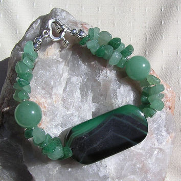 "Green Agate & Green Aventurine Crystal Gemstone Bracelet ""Tender Willow"""