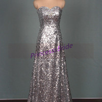 2015 long silver sequins prom dress with rhinestones,sparkly women gowns for evening party,inexpensive graduation prom dress on sale.