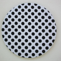 Mouse Pad mouse pad / Mat - Black dots on white - round or rectangle - office accessories desk home decor