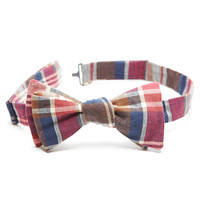 Red & Navy Blue Plaid Cotton Bow Tie