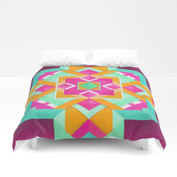 Geometric Tribal Mandala Inspired Modern Trendy Vibrant (Mint Green, Maroon, Wine, Hot Pink, Orange) Duvet Cover by AEJ Design