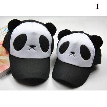 Girl Panda Baseball Cap Trucker Visor Hat Cotton Cute Sports Snapback Adjustable