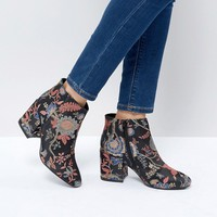 Boohoo Jacquard Floral Heeled Ankle Boot at asos.com