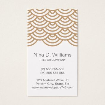 Vertical trendy light brown Japanese wave pattern Business Card