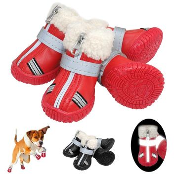 Warm Pet Dog Shoes Winter Waterproof Pet Dog Boots Shoe Rain Snow Booties Reflective Nonslip Footwear For Small Large Dogs