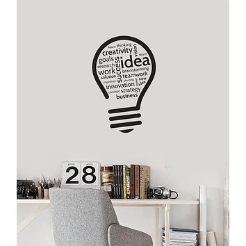 Vinyl Wall Decal Creativity Idea Lightbulb Teamwork Office Room Stickers Mural (ig5973)