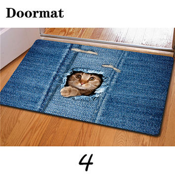 Cute Pet Cat Print Living Room Doormat Kitchen Carpet Floor Mat Area Rugs Decor