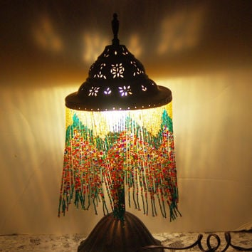 Mediteranian Style Metal and Beaded Table Lamp with Multi Color Beads - Fabulous, 1970s