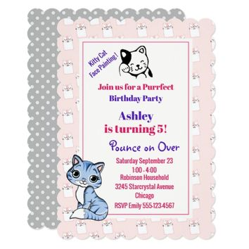 Pink Kitty Cat Theme Birthday Party Card