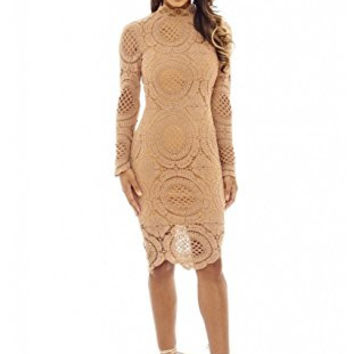 Mocha High Neck Long Sleeve Lace Midi Dress