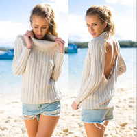 Backless Scoop Solid Color Pullover Lapel Sweater