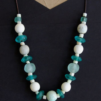 Sea and Sand Necklace Aqua Blue and White African Beads Handmade Ceramic and Recycled Glass Cool Summer Colors Boho Beach Ocean Jewelry