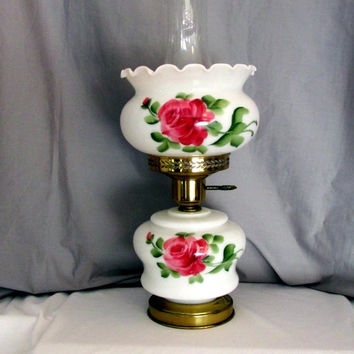 Double Globe Parlor Lamp Hurricane Hand Painted Red Roses With Glass Chimney Electric Vintage Collectible Gift 2193