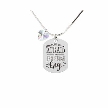 Inspirational Tag Necklace In AB Made With Crystals From Swarovski  - DON'T BE AFRAID