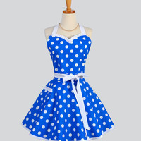 Sweetheart Retro Apron - Sexy Womens Apron Royal Blue and White Polka Dot Cute Full Kitchen Apron