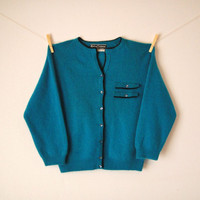 Vintage. 50's. Koret of California. Cardigan Sweater. Teal Blue. Stretchy Knit. Button Up. 3/4 Sleeves. Wool. Retro. Mad Men. Small Medium