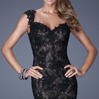 Black and Nude Lace Dress by La Femme
