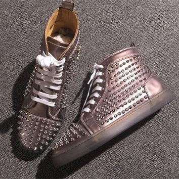 Cl Christian Louboutin Louis Spikes Style #1880 Sneakers Fashion Shoes
