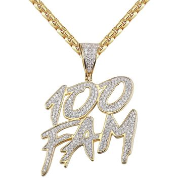 Men's 100 Fam Dollar Cash Iced Out 14k Gold Finish Pendant