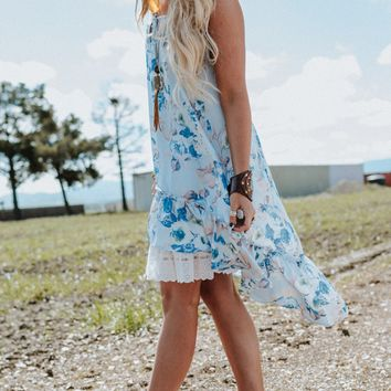 Lola Floral High Low Dress - Blue