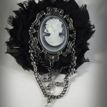 Victorian Goth Cameo Brooch - Gothic Cameo Brooch - Black Rosette Cameo Brooch