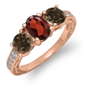 1.94 Ct Oval Red Garnet Brown Smoky Quartz 18K Rose Gold Plated Silver Ring