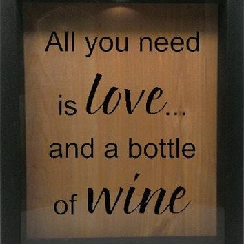 """Wooden Shadow Box Wine Cork/Bottle Cap Holder 9""""x11"""" - All You Need is Love and a Bottle of Wine"""