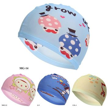 Swimming Caps Elastic Lovely Kids Cartoon Fabric Cute Cartoon Animal Protect Ears Boys Girls Swim Pool Caps Hat