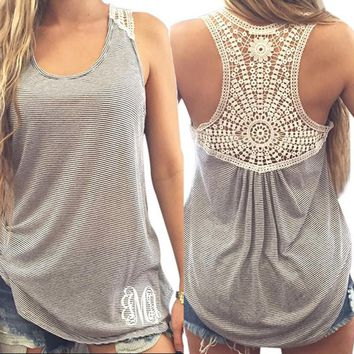 Women Crochet Top Floral Lace Stitching The I-shaped Plus Size Tank top Straped Vest Female Women's lace female T-shirt New