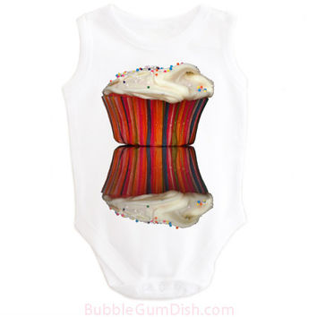 Cupcake Baby OnePiece Bodysuit Frosted Cupcake Baby Outfit Cupcake Shirt Baby Toddler Long Sleeve Short Sleeve Tank Cupcake with Sprinkles