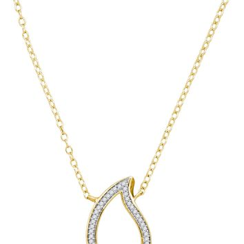 10kt Yellow Gold Womens Round Diamond Teardrop Pendant Necklace 1/10 Cttw