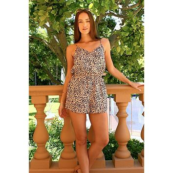Women's Animal Print Button Romper
