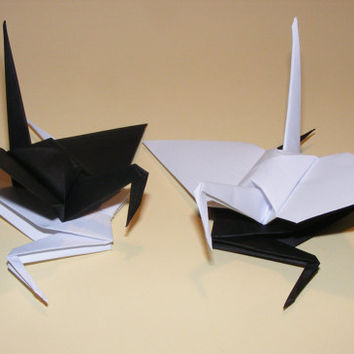 Origami wedding crane, paper origami crane, origami crane, set of 100 black-white crane, decoration crane