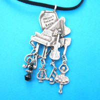 Classical Music Themed Grand Piano Notes Ballerina Pendant Necklace in Silver