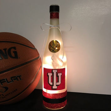 Indiana Hoosiers wine bottle lamp, Hoosiers fan decor, IU fan gift idea, Hoosiers basketball