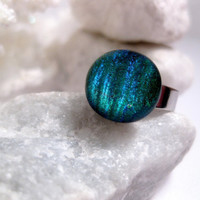 Shimmer Blue Green Glass Ring  Changes by FashionCrashJewelry