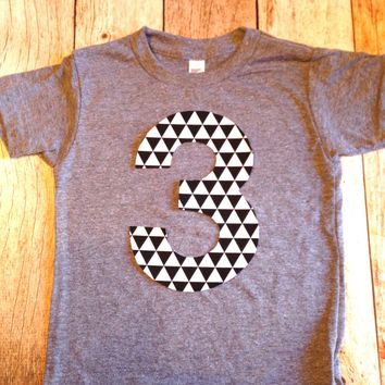 Tribal arrow black and white Any NUMBER on Birthday tShirt Birthday Shirt kids 1 2 3 4 5 6 7 8 9 triblend grey camp arrow feather teepee