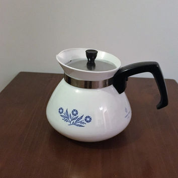 "Vintage 1970s Corning Ware ""Blue Cornflower"" 6 Cup Enamel Tea Pot / Retro Corning Ware Coffee Pot"