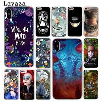 Lavaza Alice in Wonderland cat Hard Phone Case for Apple iPhone 6 6s 7 8 Plus 4 4S 5 5S SE 5C Cover for iPhone XS Max XR Cases