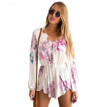 Hot Sale V-neck Sexy Print Long Sleeve Jumpsuit Romper [6046236161]