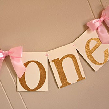 1st Birthday Highchair Banner. Pink and Gold Birthday Party Decorations.