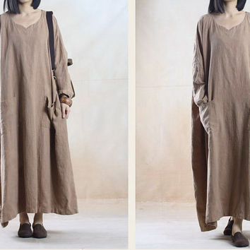 Women linen dress maxi dress Casual dress/Loose Fitting dress/Long Sleeve dress autumn clothing plus size dress