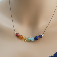Chakra Necklace - 8mm 7 Chakra Stone Necklace -  Chakra Activator - 7 Chakra Healing Necklace - Yoga Necklace Spritual Necklace