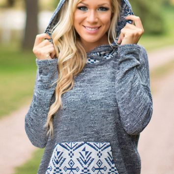 Gray Long-Sleeve Printed Hoodie Sweater With Pocket