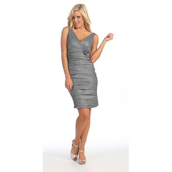 CLEARANCE - Gray Cocktail Dress Short Tight Fit Wide Straps V Neck Ruched (Size Large)