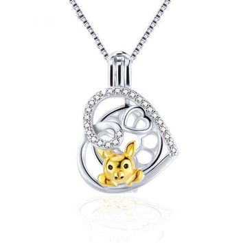 925 Sterling Silver Heart Zircon Pig Pearl Cage Pendant